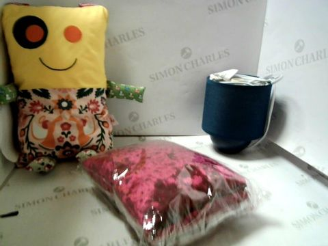 Lot 7024 LOT OF ASSORTED ITEMS TO INCLUDE; TABLE LAMP, CRAFT ITEMS, FABRIC ETC