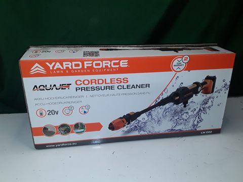 Lot 141 YARD FORCE 22BAR 20V AQUAJET CORDLESS PRESSURE CLEANER