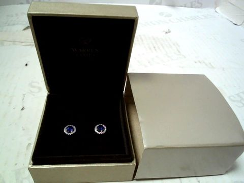 Lot 150 DESIGNER SILVER TONE EARRINGS WITH CLEAR AND BLUE STONES