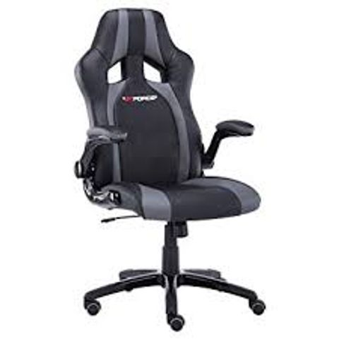 Lot 576 BOXED GT FORCE PROFX LEATHER RACING SPORTS OFFICE CHAIR WITH FOOTSTOOL IN BLACK & GREY