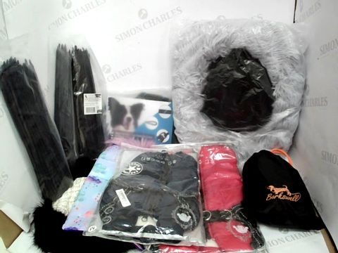Lot 316 A BOX OF ASSORTED DOG ACCESSORIES INCLUDING A SMALL DOG BED, X4 DOG COATS FOR SMALL DOGS AND A ROPE LEAD