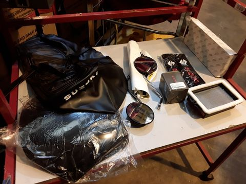 Lot 58 TRAY OF ASSORTED MOTORCYCLE PARTS, PAIR CHROME MIRRORS, SUZUKI SEAT COVER, HONDA FILTER, SUZUKI BELT PADS, VINYL GRAPHICS,  (TRAY NOT INCLUDED)