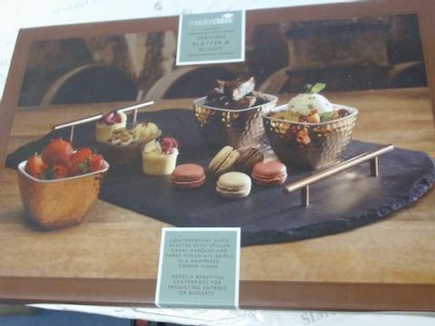 Lot 487 ARTESA SLATE SERVING TRAY AND COPPER-FINISH BOWLS