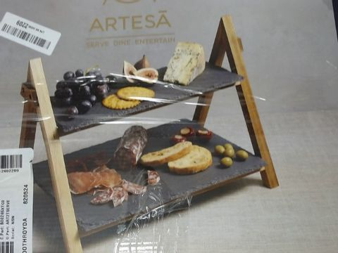 Lot 173 ARTESA TIERED SLATE SERVING PLATTERS IN GIFT BOX, ACACIA WOOD, 40 X 30 X 25 CM