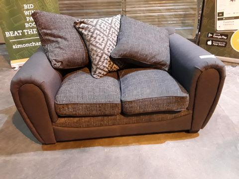 Lot 29 DESIGNER GREY FABRIC TWO SEATER SOFA WITH SCATTER CUSHIONS