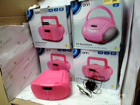 Lot 12099 LOT OF 4 PINK ONN CD BOOMBOXES