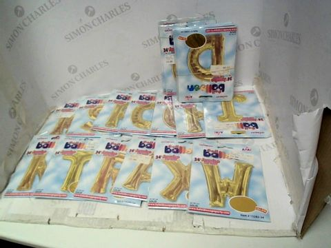 """Lot 119 LOT OF 22 ASSORTED GOLD FOIL 34"""" LETTER BALLOONS FOR HELIUM"""
