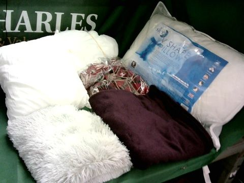 Lot 4188 LARGE BOX OF ASSORTED FABRIC ITEMS TO INCLUDE V SHAPED PILLOW, BLANKETS, SOFA COVER