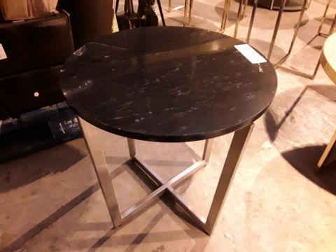 Lot 55 DESIGNER CIRCULAR BLACK MARBLE EFFECT SIDE TABLE