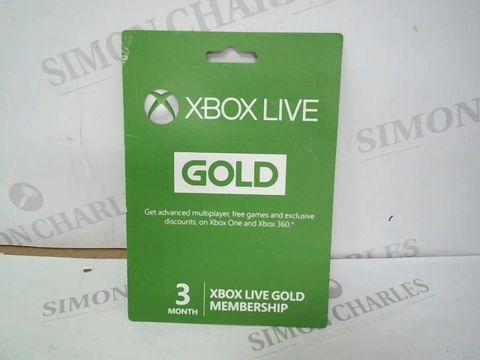 Lot 12480 XBOX LIVE GOLD 3 MONTH MEMBERSHIP