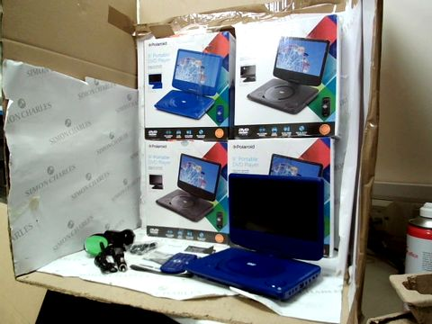 Lot 12105 LOT OF 4 POLAROID 9 INCH PORTABLE DVD PLAYERS IN BLACK AND BLUE
