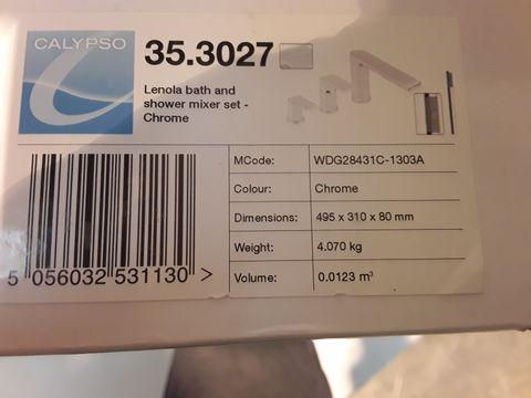 Lot 10673 BOXED CALYPSO LENOLA BAGH & SHOWER MIXER SET CHROME