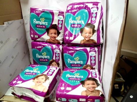 Lot 10355 LOT OF 6 ASSORTED PAMPERS ACTIVE FIT PACKS OF NAPPIES - AGES 5 AND 6