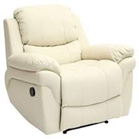 Lot 587 BOXED DESIGNER MADDISON CREAM LEATHER POWER RECLINING ARMCHAIR
