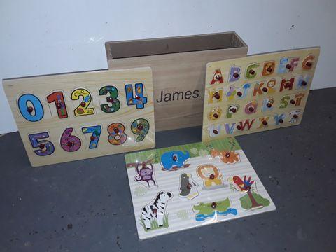 "Lot 1184 PERSONALISED 3-PIECE PUZZLE SET - ""JAMES"""