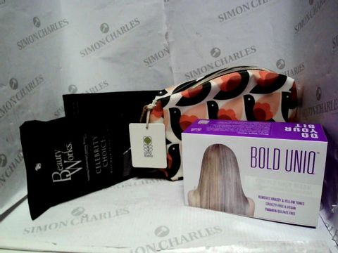 Lot 13084 LOT OF APPROXIMATELY 8 ASSORTED COSMETIC ITEMS, TO INCLUDE BOLD UNIQ HAIR MASK, ORLA KIELY MAKEUP BAG, BEAUTYWORKS BLACK HAIR EXTENSIONS, ETC