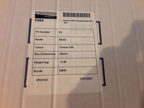Lot 10638 BOXED DESIGNER LEVANTO WH COMPLIMENT UNIT RH TORONA OAK