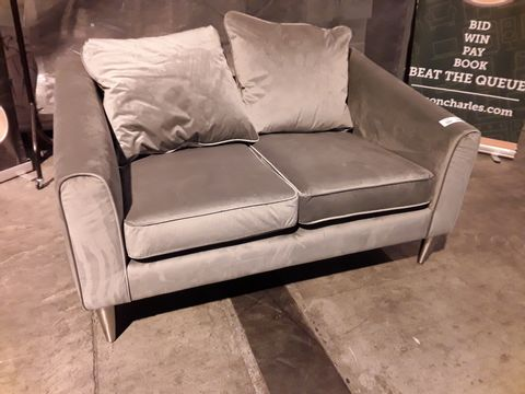 Lot 508 DESIGNER SILVER FABRIC TWO SEATER SOFA WITH SCATTER CUSHIONS