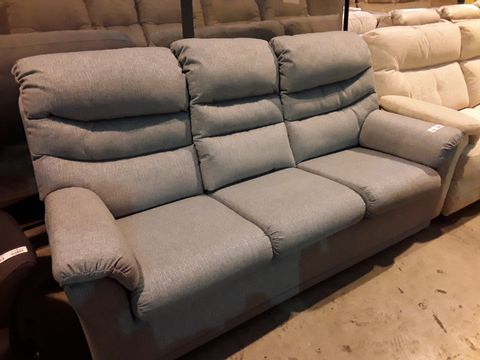 Lot 602 QUALITY BRITISH MANUFACTURED HARDWOOD FRAMED GREY FABRIC FIXED THREE SEATER SOFA
