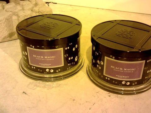 Lot 11053 HOMEWORX BY HARRY SLATKIN SET OF 2 BLACK MAGIC 4 WICK CANDLES