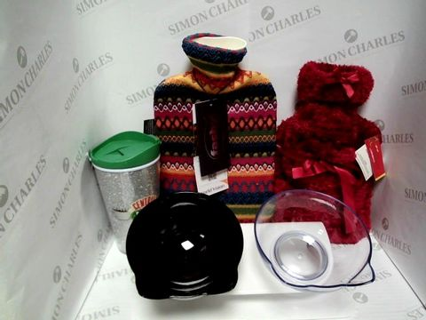 Lot 7351 LARGE BOX FULL OF MIXED HOUSEHOLD ITEMS TO INCLUDE: CENTRAL PERK TRAVEL MUG, 2X HOT WATER BOTTLES, BOWLS WITH HOLDER, ETC