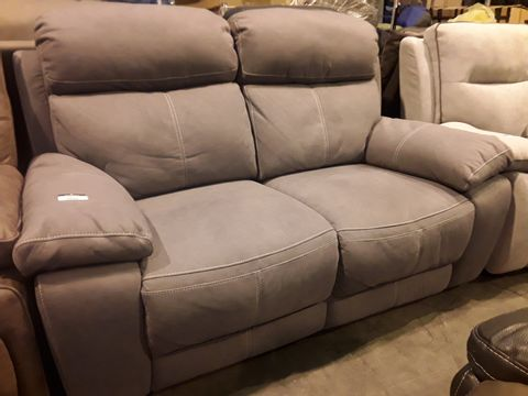 Lot 5035 DESIGNER GREY MACAO FABRIC POWER RECLINING TWO SEATER SOFA WITH CONTRAST STITCHING