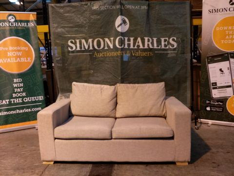 Lot 2116 DESIGNER LIGHT BEIGE FABRIC TWO SEATER SOFABED