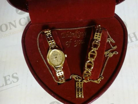 Lot 17161 THINKNING OF YOU - SET OF WATCH, BRACELET AND CHAIN IN HEART SHAPED BOX
