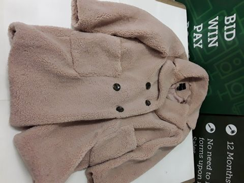 Lot 29 NEW LOOK BUTTON FRONT TEDDY JACKET IN PALE PINK - UK 6