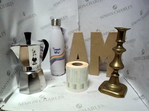 Lot 7649 LOT OF A LARGE QUANTITY OF ASSORTED HOUSEHOLD ITEMS, TO INCLUDE BIALEM STOVETOP COFFEE MAKER, SMIDGE INSULTED WATER BOTTLE, DESIGNER CANDLESTICK HOLDER, ETC