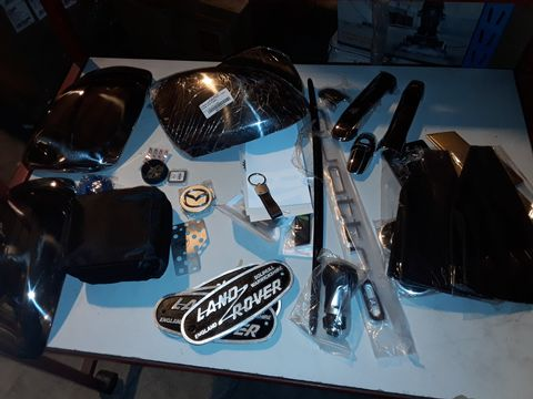 Lot 56 ASSORTED ITEMS, PAIR VITO CHROME WING MIRROR COVERS, PAIR CHROME WING  IRROR COVERS, PAIR CHROME DOOR HANDLE COVERS, LEATHER GEAR GSITOR, QUATTRO BADGE, FORD ACCELERATOR PEDAL, LAND ROVER BADGES.