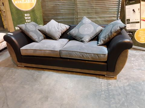 Lot 6 DESIGNER BLACK FAUX LEATHER & GREY FABRIC THREE SEATER SOFA WITH SCATTER CUSHIONS