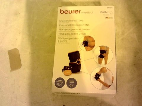 Lot 12047 BEURER EM29 KNEE AND ELBOW 2-IN-1 TENS PAIN RELIEF MACHINE AND SUPPORT