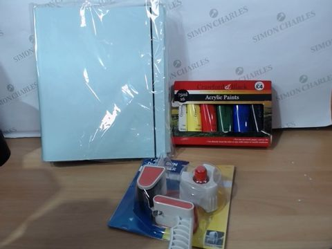 Lot 2034 MEDIUM LOT OF ASSORTED STATIONARY/HOUSEHOLD ITEMS TO INCLUDE: WHSMITH FOLDERS, MARKSMAN TAPE GUN DISPENSER, CRAWFORD & BLACK ACRYLIC PAINTS ETC