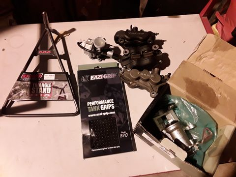 Lot 71 SEVEN ITEMS, 3 × TOKIVO BRAKE CALIPERS, DRC TRIANGLE STAND, RAZI-GRIP TANK GRIPS & SHAFTEC CALIPER.