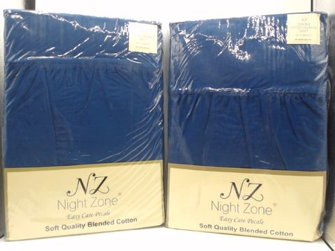 Lot 4006 LOT OF 2 NIGHT ZONE COTTON DOUBLE FITTED SHEETS