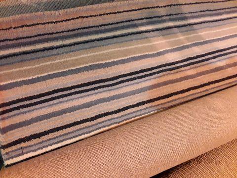 Lot 85 DESIGNER ORIGIN FINE STRIPES BLUE/BEIGE RUG 120 × 170