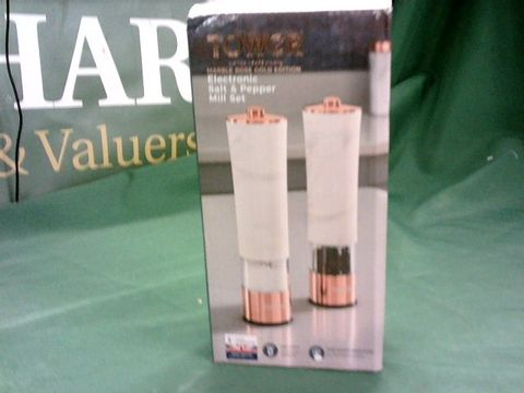Lot 4014 TOWER T847005WR MARBLE ROSE GOLD ELECTRIC SALT AND PEPPER MILL WITH LED LIGHT