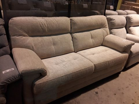 Lot 601 QUALITY BRITISH MANUFACTURED HARDWOOD FRAMED NATURAL FABRIC FIXED THREE SEATER SOFA