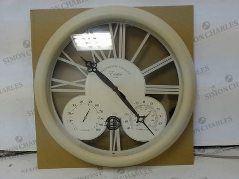 Lot 3 BOXED BRAND NEW EXETER WALL CLOCK & THERMOMETER  RRP £40.00