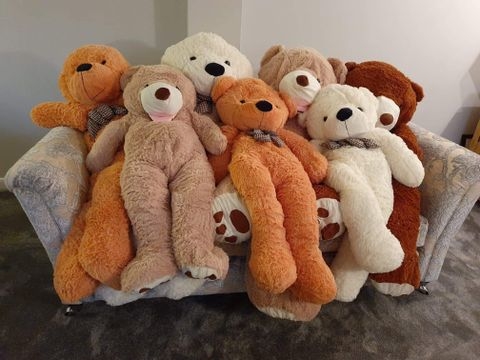 Lot 23 PALLET OF APPROXIMATELY 30 ASSORTED BRAND NEW VACUUM PACKED GIANT PLUSH TEDDY BEARS