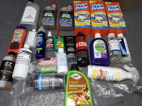Lot 9093 LOT OF APPROXIMATELY 23 ASSORTED HOUSEHOLD ITEMS TO INCLUDE LIQUID SEAWEED, OVEN PRIDE AND BLACK CANVAS DYE