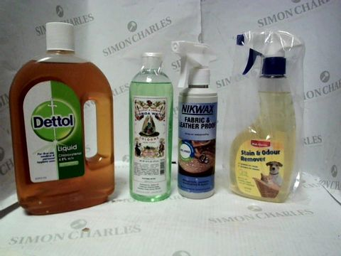 Lot 7667 LOT OF APPROXIMATELY 15 ASSORTED HOUSEHOLD ITEMS, TO INCLUDE NIKWAX WATERPROOFING SPRAY, BOB MARTIN STAIN REMOVER, DETTOL ANTISEPTIC LIQUID, ETC