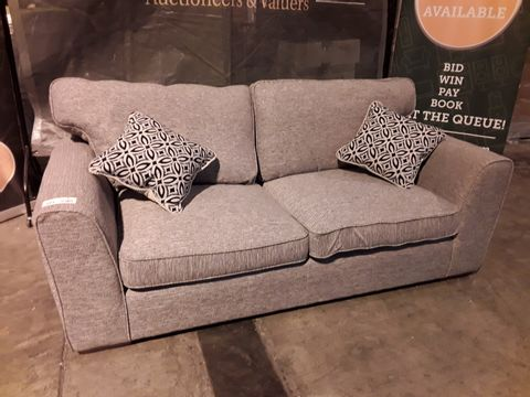 Lot 523 DESIGNER GREY FABRIC THREE SEATER SOFA WITH SCATTER CUSHIONS