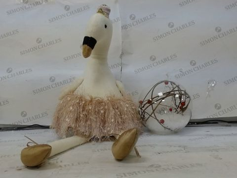Lot 631 LOT OF 2 ROOM DECORATIONS TO INCLUDE 1 BALLERINA SWAN - PLUSH, WINTER SCENE LIGHT UP BALL RRP £36.00