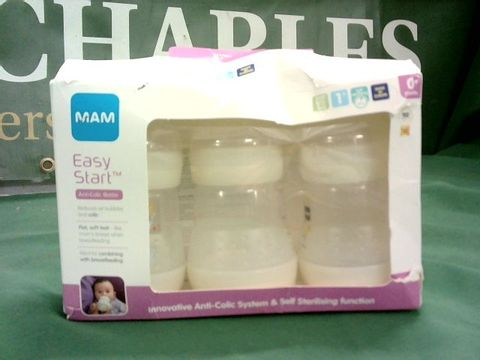Lot 1055 MAM PACK OF 3 EASY START ANTI-COLIC BABY BOTTLES