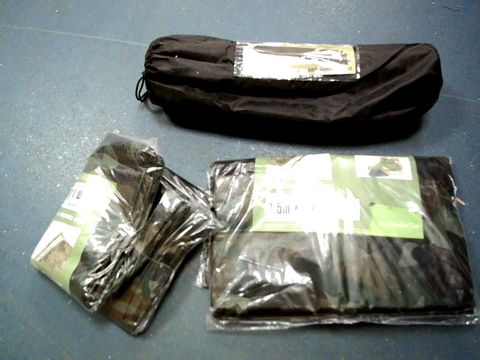 Lot 15196 LOT OF 2 3.5X5.4 METRE CAMOUFLAGE TARPAULINS AND 1 TRAIL SELF INFLATE MATT