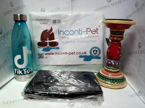 """Lot 7644 LOT OF A LARGE QUANTITY OF ASSORTED HOUSEHOLD ITEMS, TO INCLUDE INCONTI-PET TRAINING NPAD, NAMASTE CANDLE HOLDER, W3M 8"""" TABLET CASE, ETC"""