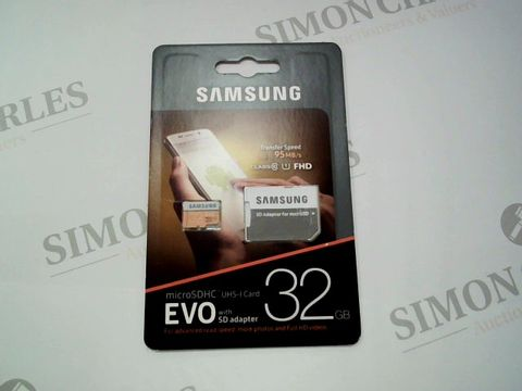 Lot 2602 BRAND NEW SAMSUNG MICROSDHC UHS-I CARD WITH SD ADAPTER 32GB