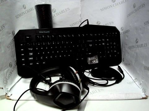 Lot 7783 BLACKWEB 4 IN 1 GAMING KIT - KEYBOARD, MOUSE, HEADSET AND MOUSEMAT